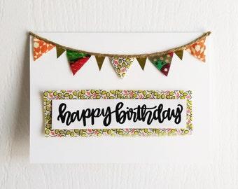 Happy Birthday Card: Fabric Banner