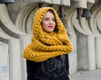 The Zizia Scarf Pattern PDF Chunky Winter Crochet Wrap Hooded Infinity Cowl Design DIY