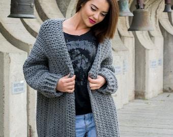 The Bigger The Better Cardigan Easy Pattern PDF Chunky Crochet Oversized Sweater DIY
