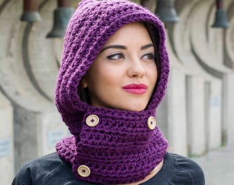 The Dugme Hooded Cowl Easy Pattern PDF Womens or Mens Winter Chunky Crochet Scarf With Hood DIY