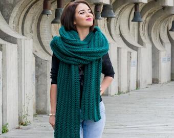 The Lenny Scarf Easy Beginner Chunky Crochet Pattern PDF Oversized Unisex Scarf DIY