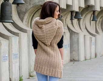 The Merinda Hooded Vest Easy Beginner PDF Pattern Oversized Womens Chunky Crochet Waistcoat with a Hood DIY
