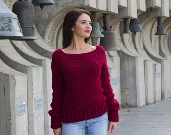 Not The Ugly Christmas Sweater Pattern PDF Womens Winter Chunky Crochet Pullover Jumper DIY
