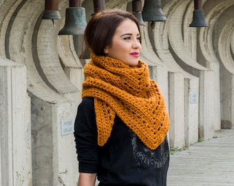 The Kabac Shawl Easy Pattern PDF Winter Chunky Crochet Triangle Scarf for Men or Women DIY