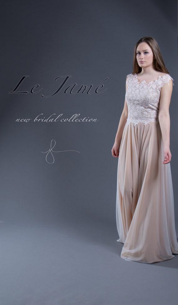 C H A R L I Z E Wedding dress, bridal wedding, embroidered, tulle skirt, lace, boho, vintage, registry office, nude, evening dress,