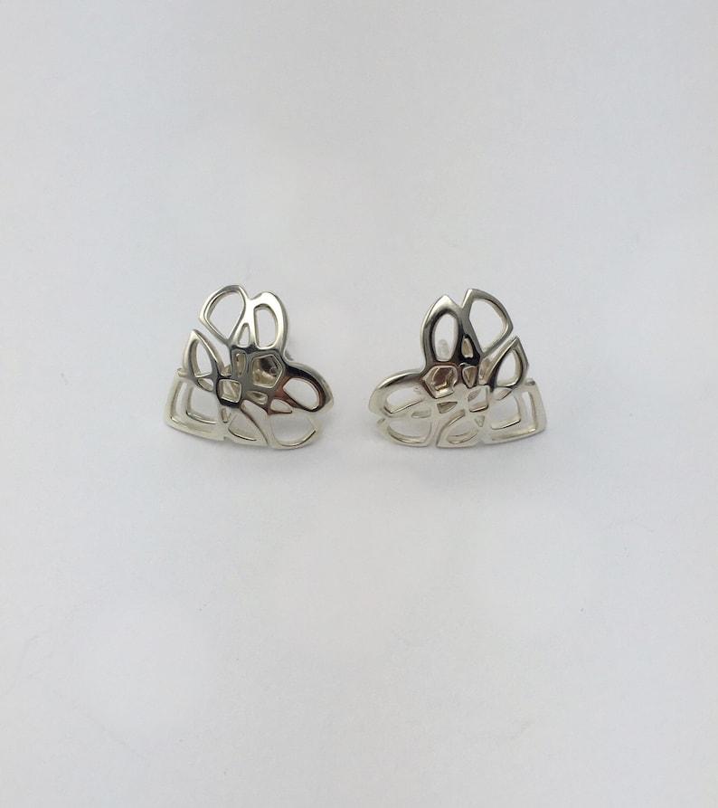 Handmade Sterling Silver full Celtic Knot stud earrings.