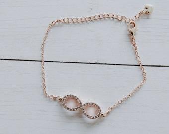 Infinity Bracelet, Infinity Sign, CZ Bracelet, Charm Bracelet, Rose Gold, Gift,  Valentines Day
