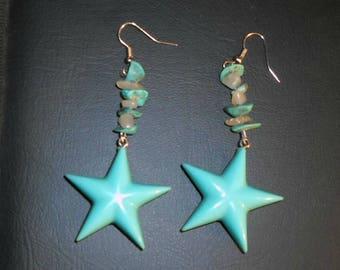 Turquoise Star Dangle Earrings