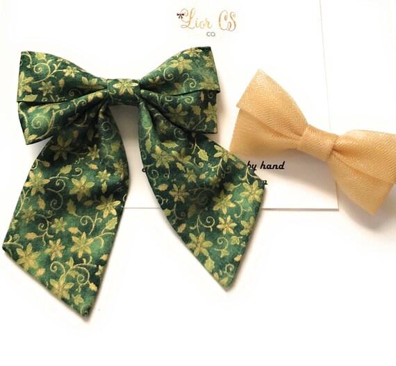 HolidayChristmas  cream glitter plaid sailor bows