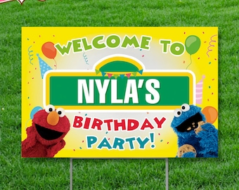 Sesame Street Birthday Party Sign with Stand - Sesame Street Birthday - Sesame Street Party - Sesame Street - Sesame Street Decoration