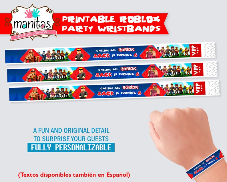 Roblox Birthday Printable Wristbands - Roblox Party - Roblox Party Supplies  - Roblox