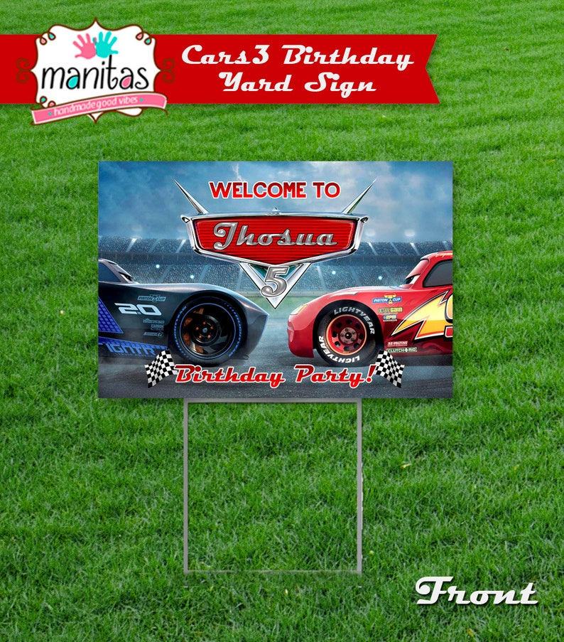 Cars 3 Birthday Party Sign With Stand