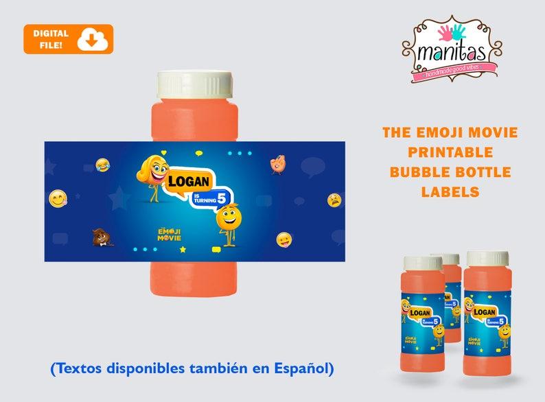 Emoji Printable Bubble Bottle Label, Personalized Bubble Bottle Label,  Emoji Party, Emoji Birthday, Emoji Bubble Bottle, Emoji Favors, Emoji