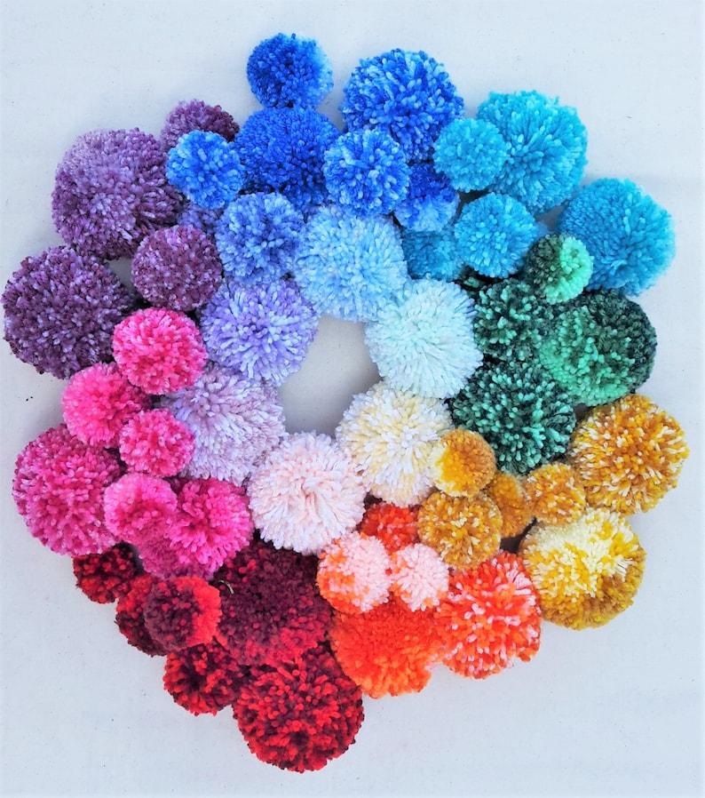 Handmade Wool 5 x 85 mm Pom Poms Bespoke Mixed Yarn Loose Pom Poms Wool Pom Pom Balls Custom Made Craft Pom Poms