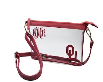 ad69df3112fe Personalized Stadium Approved Bags  Oklahoma Sooner Bag Clear Cross Body Bag