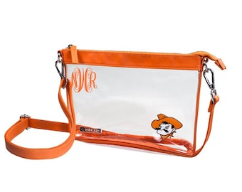 5883e140789 Personalized Stadium Approved Oklahoma State Cowboys, Clear Cross Body  Purse, Game Day Purse, Clear Stadium Purse, Clear Bag,