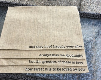 Burlap Placemats Perfect for a Wedding Gift-- Set of 4