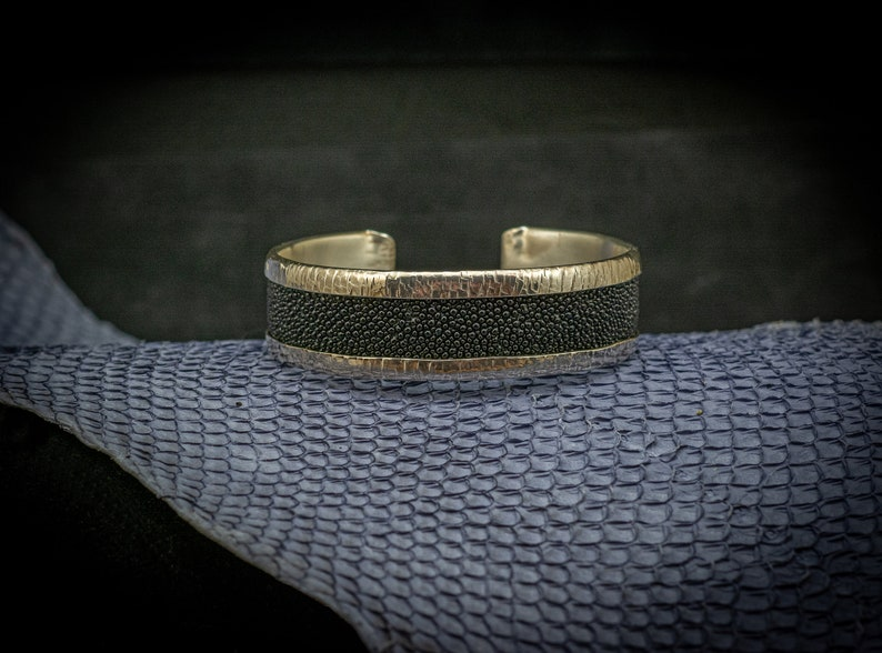 Stingray Leather and Sterling Silver Hand Forged Cuff Handcrafted One-of-a-kind Genuine Black Stingray Leather Made in Canada