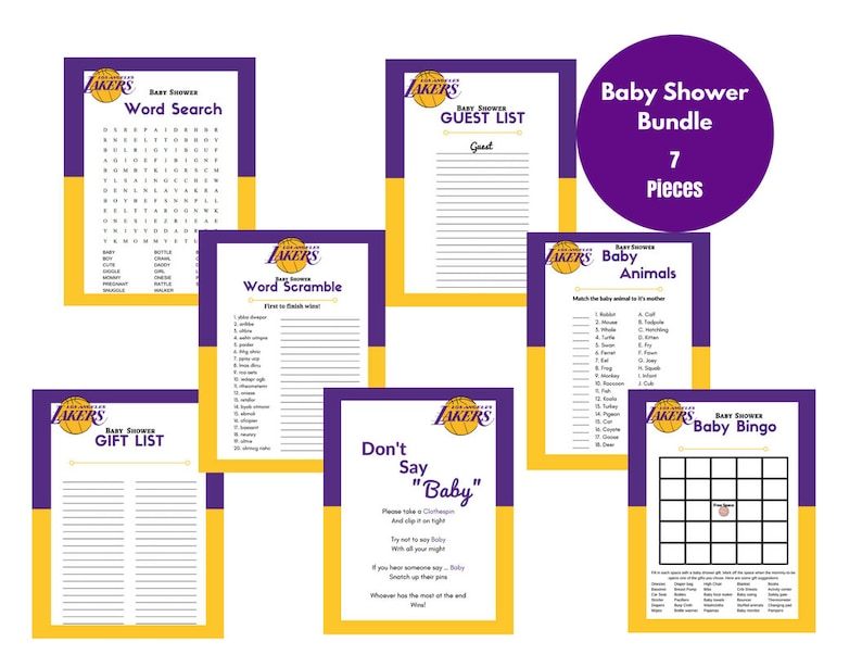 picture about Lakers Printable Schedule known as Little one Shower Video games Lakers Printable Visitor Present Record Red Yellow White Basketball Themed Quick Obtain record