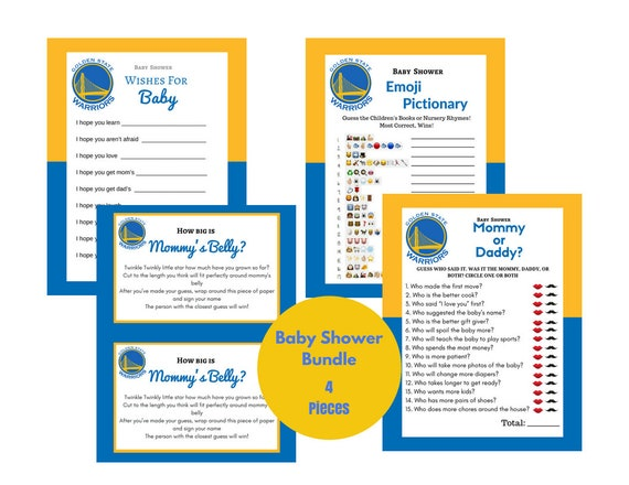 photo regarding Warriors Schedule Printable named Printable 4 Youngster Shower Game titles Warriors Blue Yellow Basketball Themed Mommy or Daddy Mommys Abdomen Emoji Pictionary Downloadable record