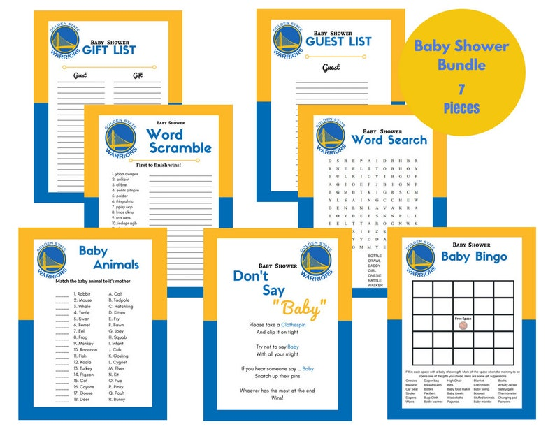 image regarding Warriors Schedule Printable called Kid Shower Online games Warriors Printable Visitor Present Listing Blue Yellow White Basketball Themed Prompt Down load document
