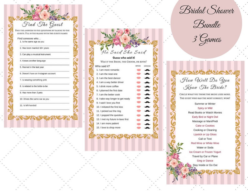 Bridal Shower Games Rose Pink Gold Floral He Said She Said How well do you  know the bride Find the Guest Instant Download file Printable