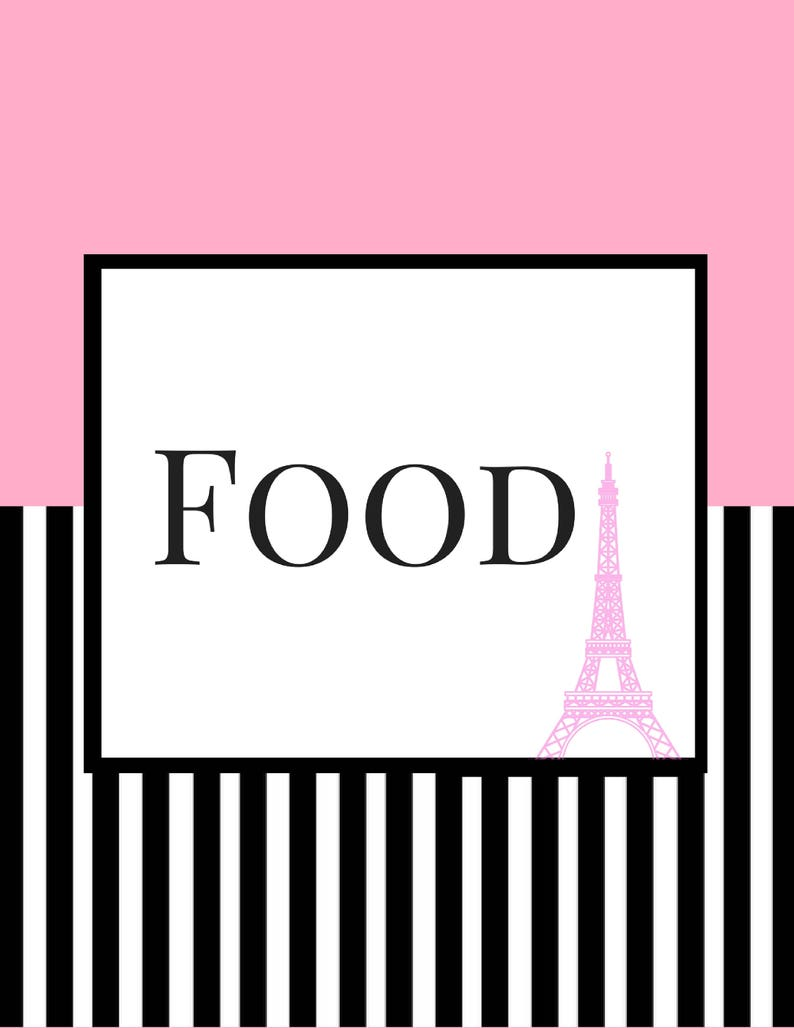 Party Supplies Party Decor Eiffel Tower Bridal Shower Bundle Pink Black White Stripe Polka Dots Paris Printable Banner Cupcake Toppers Signs Instant Download File