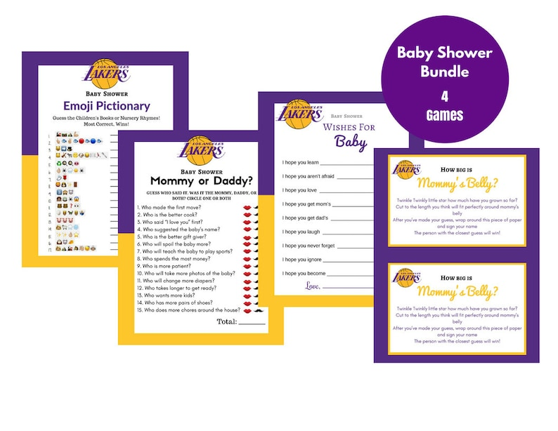 graphic about Lakers Schedule Printable referred to as Printable 4 Child Shower Game titles Lakers Pink Yellow Basketball Themed Mommy or Daddy Mommys Tummy Emoji Pictionary Downloadable report