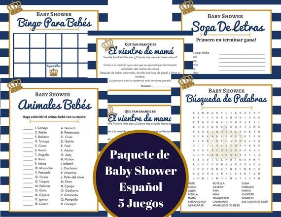 Imprimible Espanol 5 Juegos De Baby Shower Azul Marino Oro Etsy