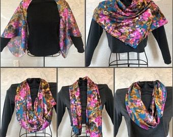 100% Silk Multi-Way Kimono Cardigan infinity Scarf Teal, Bronze and Fuchsia Print