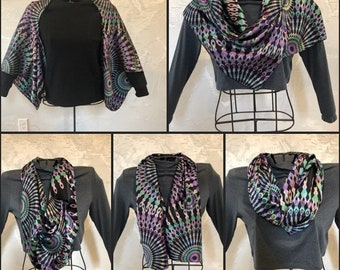 100% Silk Multi-Way Kimono Cardigan infinity Scarf Black, Purple and Teal Kaleidoscope Print