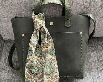Silk Kimono Fabric Handbag Bag Scarf Green and Orange print
