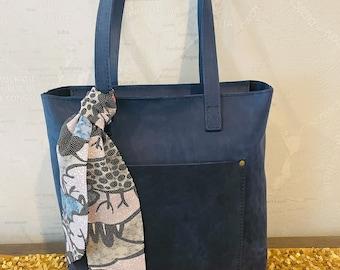Silk Kimono Fabric Handbag Bag Scarf black, white, blue and red floral dots