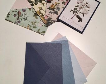 Vintage cards, note cards, notelet, card set, floral card
