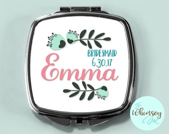 bridesmaid gift, personalized compact mirror, personalized compact, compact mirror, custom bridesmaid gift, custom compact, purse mirror