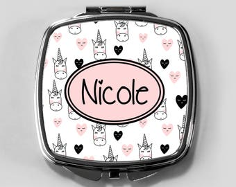 gift for her, bridesmaid gift, custom compact, personalized compact, compact mirror, pocket mirror, personalized compact mirror, unicorn