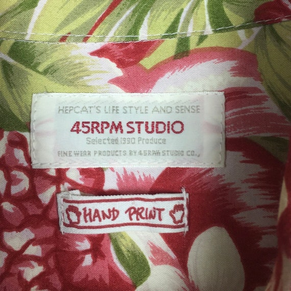 45rpm Studio Handprinted Floral Hawaiian Shirt - image 7