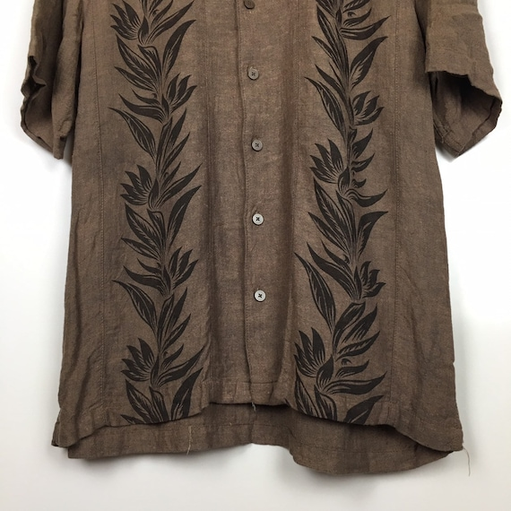 Haggar Hawaiian Linen Rayon Aloha Shirt Size M - image 3