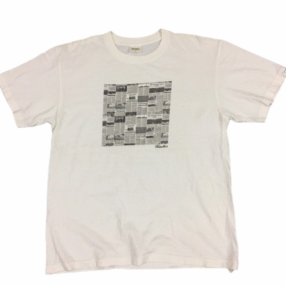 Japanese Brand Kinetics Newspaper Print T-Shirt