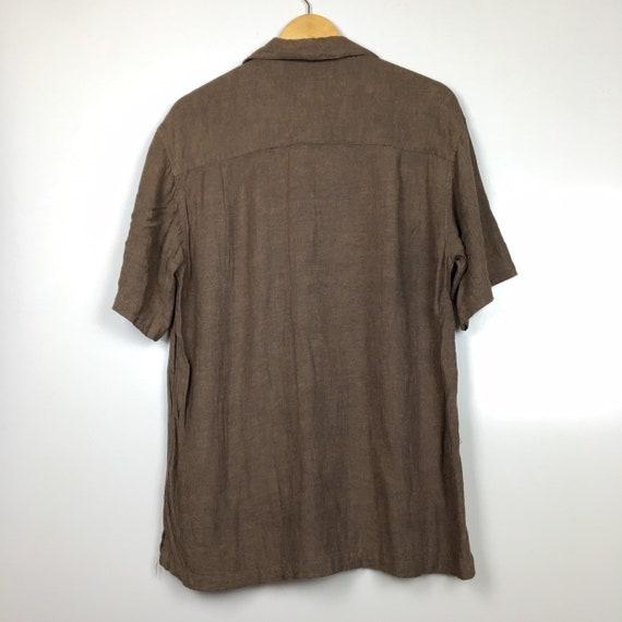 Haggar Hawaiian Linen Rayon Aloha Shirt Size M - image 5