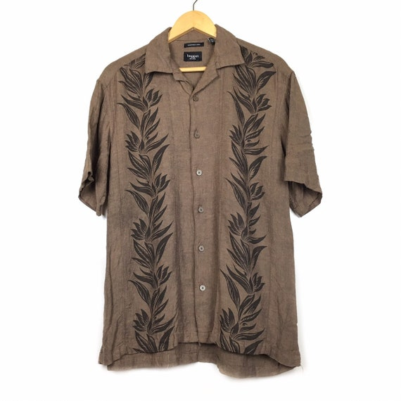 Haggar Hawaiian Linen Rayon Aloha Shirt Size M - image 1