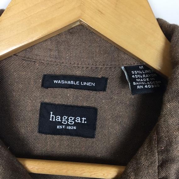 Haggar Hawaiian Linen Rayon Aloha Shirt Size M - image 4
