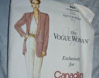 Vogue 964  Misses Jacket Blouse and Pants Sewing Pattern UNCUT Size 14 16 18