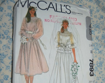 McCalls 7893 Misses Brides or Bridesmaids Gown and Slip Sewing Pattern UNCUT Size 12 Bust 34 Boho Wedding Dress with Smocking