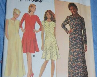 Simplicity 7324 Misses / Miss Petite Dress Sewing Pattern - UNCUT - Size 10 12 14