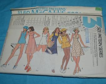 70s McCalls 5061 Misses Dress Panties and Sun Visor Sewing Pattern UNCUT Size 10 12 14