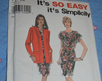 Simplicity 9705 Misses / Miss Petite Dress and Jacket Sewing Pattern - UNCUT - Size 8 - 18