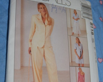 McCalls 8118 Misses Lined Jacket Pants Shorts and Skirt Sewing Pattern - UNCUT - Size 12 14 16