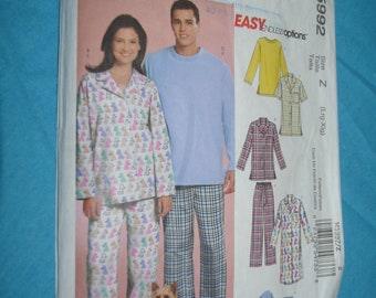7b0eaa3cf1 McCalls 5992 Misses Mens and Teen Boys Tops Nightshirts Pants and  Sweatshirt for Dog Sewing Pattern - UNCUT - Size Lrg - Xlg