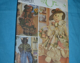 """Simplicity 8242 30"""" Cats and Clothes Sewing Pattern - UNCUT"""
